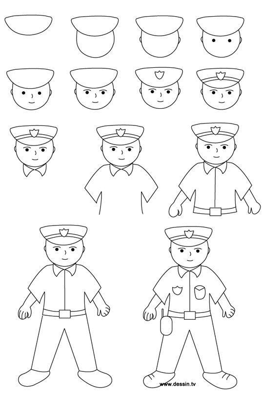 drawing tekenen tekeningen stap politie cizimler voor policeman kolay draw police class project kunst step krabbel simple drawings eli ontdek