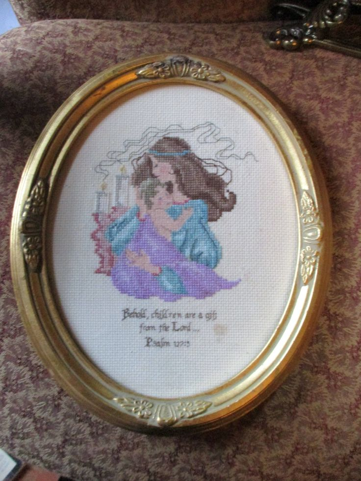 """Vtg Gold Tone Framed Mother Child Children As Gift From Lord Motto Completed Needlepoint Victorian Designs Oval Picture Frame, 11.5"""" x 9.5"""" by treasuretrovemarket on Etsy"""
