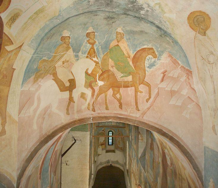 Journey of the Magi. (Akathyst Hymn) Dionysius vМузей фресок Дионисия - Разрез по западному поперечному нефу. Вид на восток - «Проповедницы богоноснии бывше волсви...» (Акафист. Кондак 6)