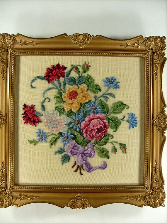 Vintage Antique Framed Petit Point Needlepoint by stbthreadworks, $125.00