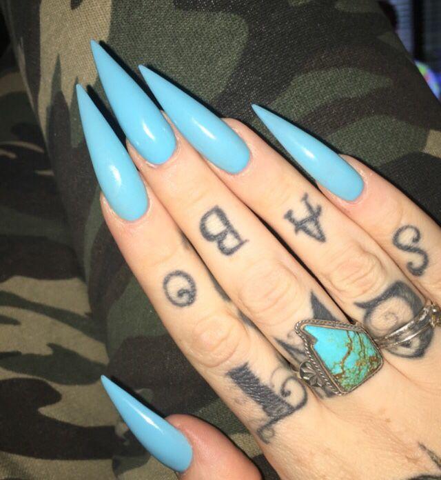 Sky Blue Long Stiletto Nails Acrylic Nails Stiletto Stiletto Nails Sky Blue Nails