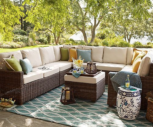 ideas for sectional with pillows, rug, ottoman, garden seat, throw, reading material, tray, drinks, lanterns just add curtains, art or fireplace, chair, ottomans for sitting