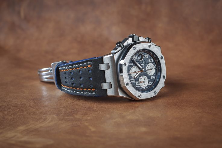 Racing Black-Blue Strap with White-Orange stitch for Audemars Piguet. Price $164.99  Fully customizable, also can make for other watches. Email me to: gunny.straps@gmail.com to order it.