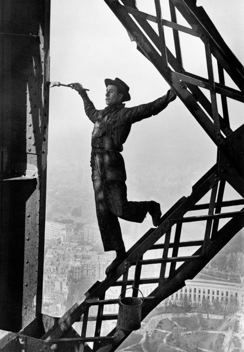 Marc Riboud FRANCE. Paris. 1953. Zazou, the Eiffel tower's painter.