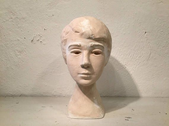 Plaster head / hat stand woman figurine from the 1950s