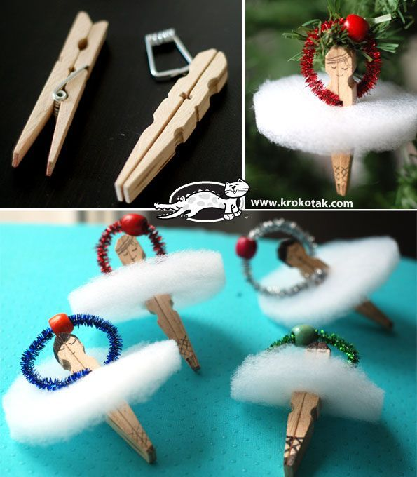A ballet dancer from pegs and wadding. Cute christmas ornament for moriah to make