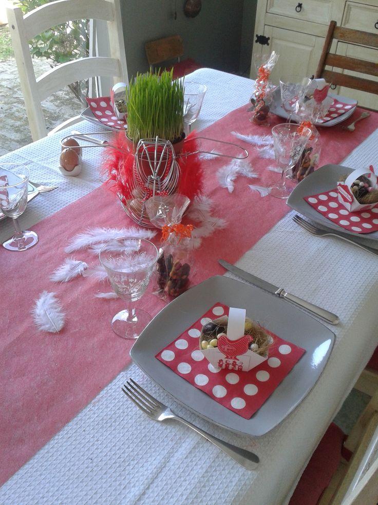 détail déco table pâques rouge blanc et poules