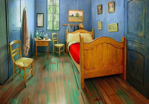 """To celebrate an upcoming Vincent van Gogh exhibition, the Art Institute of Chicago has re-created the iconic """"Bedroom in Arles"""" in a modern apartment building and is renting it out on Airbnb. 