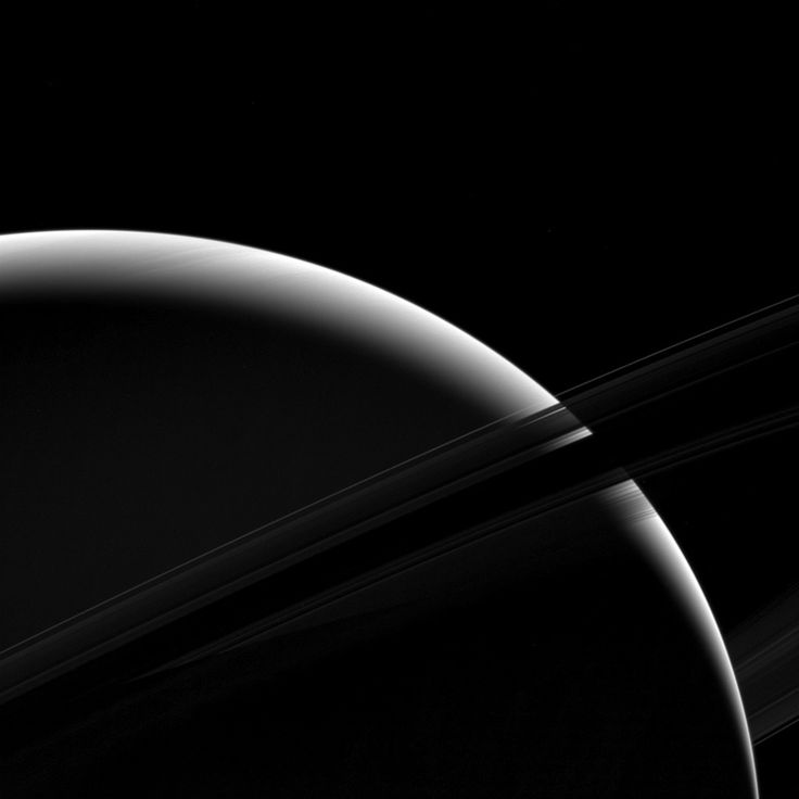 Sliver of Saturn Although only a sliver of Saturn's sunlit face is visible in this view the mighty gas giant planet still dominates the view. April 03 2017
