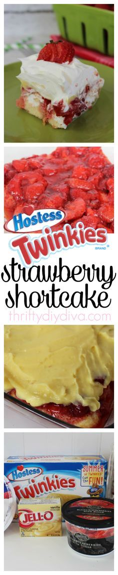 No Bake Twinkies Strawberry Pudding Shortcake recipe - perfect for parties and potlucks!