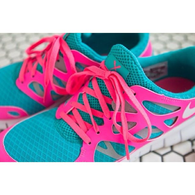 Find this Pin and more on Pink Nikes for Womens. Super bright pink blue  neon Nike Free Run .