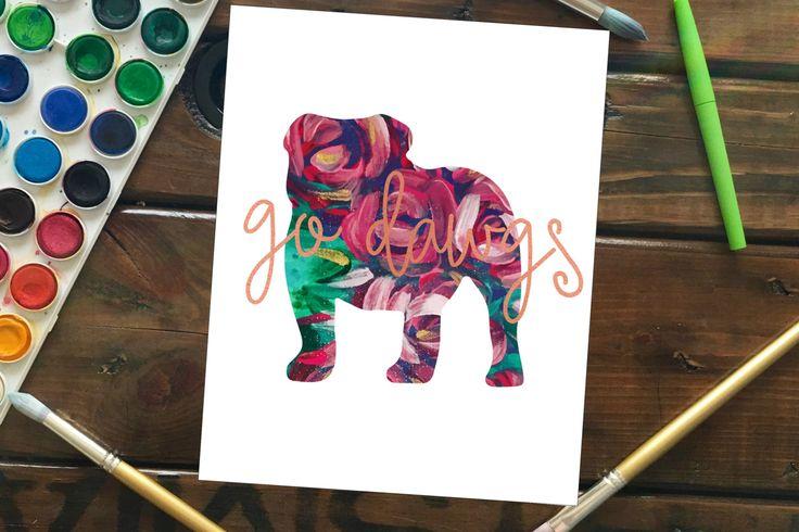 Go Dawgs Art Print, Hand Painted Flower Bulldog Silhouette, Mississippi State Bulldawgs, Georgia Bulldogs Mascot Wall Art, Dorm Room Art by MagnoliaBelue on Etsy