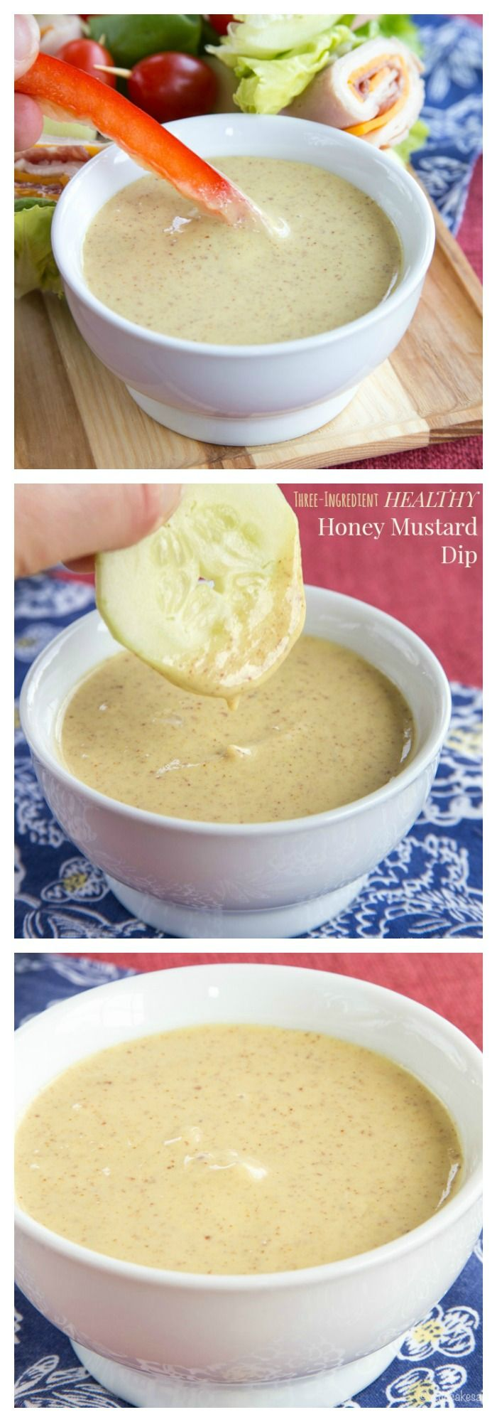 Three-Ingredient Healthy Honey Mustard Dip - so fast and easy, you'll be making this recipe for all of your veggie platters and lunch boxes. My kids love it for dipping their carrot sticks and cucumbers!   cupcakesandkalechips.com   gluten free