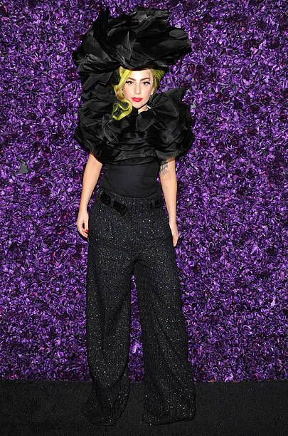 Lady Gaga poses backstage following her show at Roseland Ballroom on April 7, 2014 in New York City.