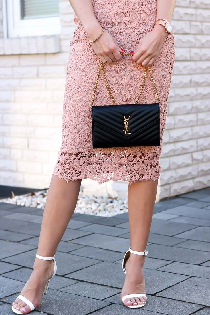 Blush Baby – Lace Pencil Skirt Outfit with blush pink lace pencil skirt, white cami top, white single strap heels and my beloved YSL bag. The perfect, elegant Style for Spring and Summer!