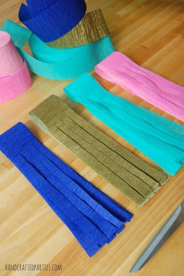 Crepe paper tassel garland step 3 handcrafted parties for Decor using crepe paper