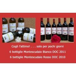"""""""Antica Fattoria SORBAIANO"""" 6 bottiglie Montescudaio Bianco DOC 2011 + 6 bottiglie Montescudaio Rosso DOC 2010 - 12 bottiglie da lt. 0,75 al prezzo di Euro 76,80 (invece di 96,00)"""