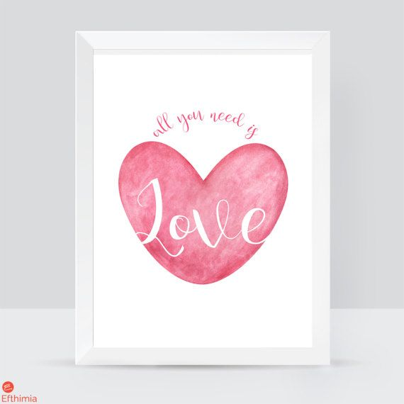 all you need is love print watercolor heart by EfthimiaPapierMache