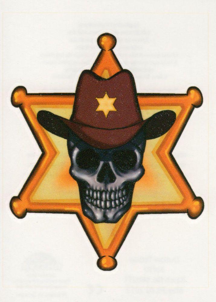 SHERIFF SKULL COWBOY HAT BADGE STAR WESTERN WILD WEST TEMPORARY TATTOO