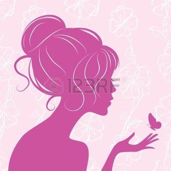 sagome stilizzate: silhouette ragazza bellezza con farfalla