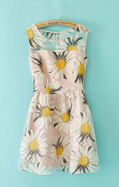 Sunflowers Printing Organza Splicing Sleeveless Dress