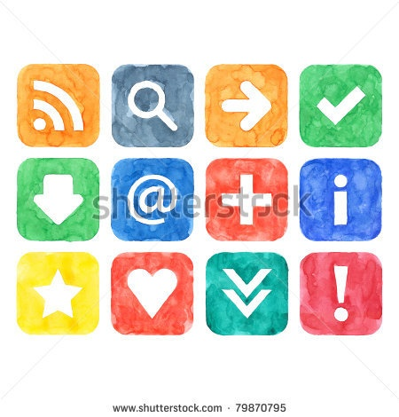 Colorful aquarelle handmade web buttons with popular internet sign on white paper