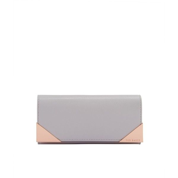 Ted Baker Knox Metal Corner Leather Matinee Purse ($81) ❤ liked on Polyvore featuring bags, wallets, sale bags & luggage purses, leather snap wallet, ted baker wallet, snap wallet, white leather wallet and white leather bag
