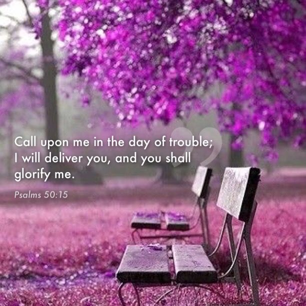 "Psalms 50:15 ""And call upon me in the day of trouble: I will deliver thee, and thou shalt glorify me.""  KJV"
