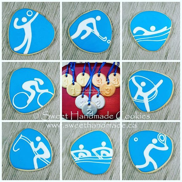 Are you glued to the TV like we are, absorbed in the Olympics?  This cookie collage represents volleyball, field hockey, swimming (my favourite sport and events), track cycling, rhythmic gymnastics, equestrian,  rowing and tennis.  #sweethandmadecookies #customcookies #decoratedcookies #designercookies #cookies #bradfordontariocookies #olympiccookies #logocookies #volleyball #fieldhockey #swimming #trackcycling #rhythmicgymnastics #equestrian #rowing #tennis