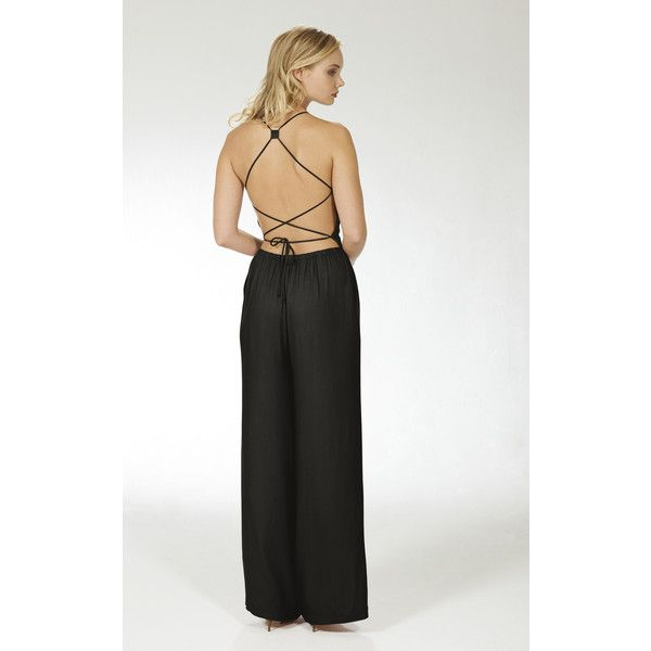 Lily and Carter London Wide Leg Crossover Jumpsuit  Black (£47) ❤ liked on Polyvore featuring jumpsuits, black, pleated jumpsuit, jump suit and wide leg jumpsuit