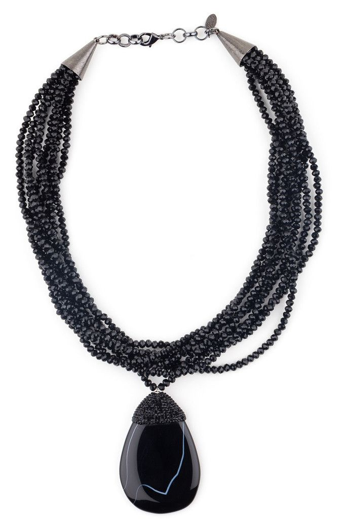 BLACK WIDOW Black Agate and Swarovski Crystal Necklace