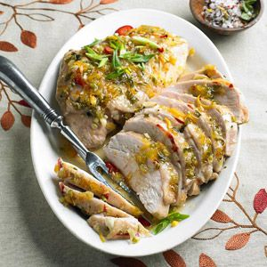Ginger-Orange-Glazed Turkey Breasts | More healthy holiday recipes: http://www.bhg.com/thanksgiving/menu/light-thanksgiving-menu/#page=7 #myplate