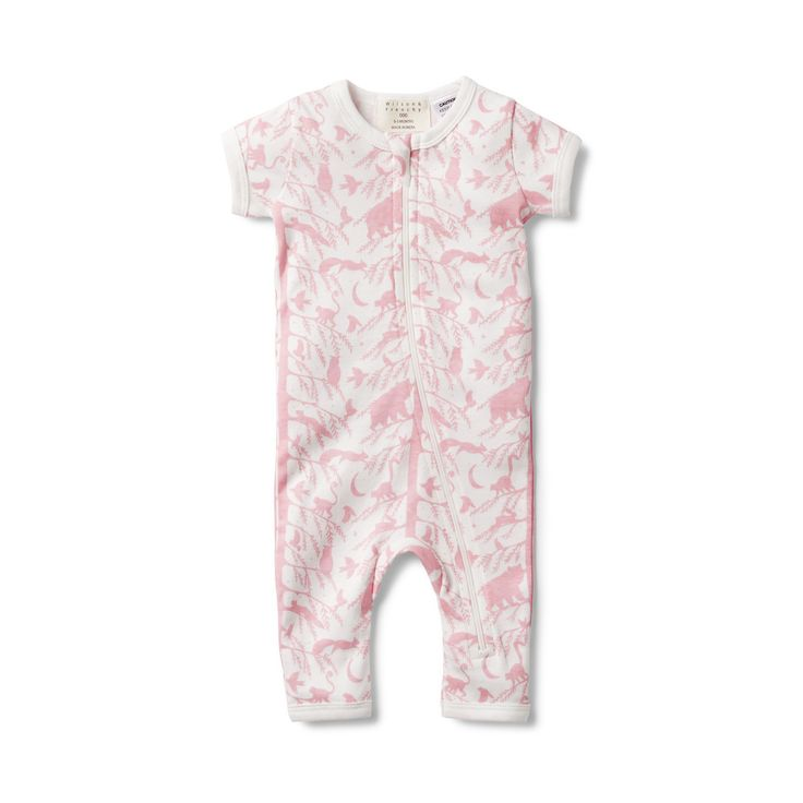 Our short sleeve zipsuit is soft and comy for your newborn baby, with a front zip opening to change bubs quickly.