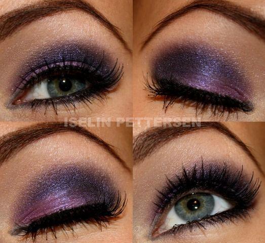 Purple: Purple Smokey Eye, Shades Of Purple, Eye Makeup, Makeup Ideas, Hair Makeup, Makeup Looks, Prom Makeup Purple, Makeup Prom Purple, Green Eye