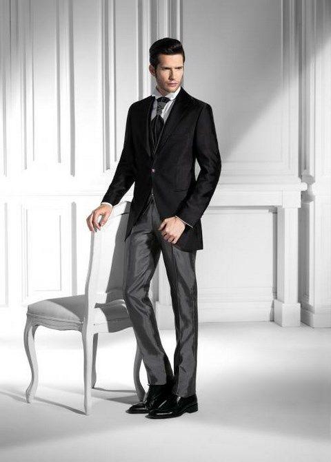 Sivo - čierny luxusný pánsky slim svadobný oblek lesklý PO35 - Svadobný salón Valery