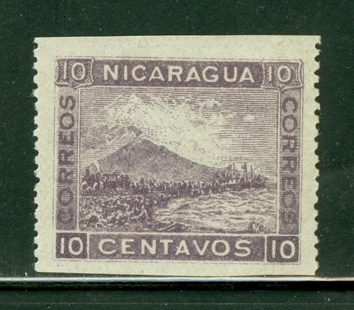 Nicaragua 1900-1905: Scott #161 MLH 10c Viol LITHO Momotombo IMPERF HORIZ