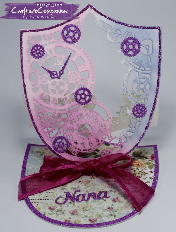 Easel card made using Crafter's Companion Die'sire Create a Card Die Timepiece Easel. Designed by Rachel Webber #crafterscompanion