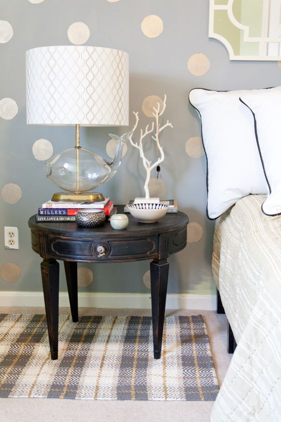 Emily Henderson Nightstand styling contest, brass fish lamp and polka dots, gold polka dot wall, guest room decor