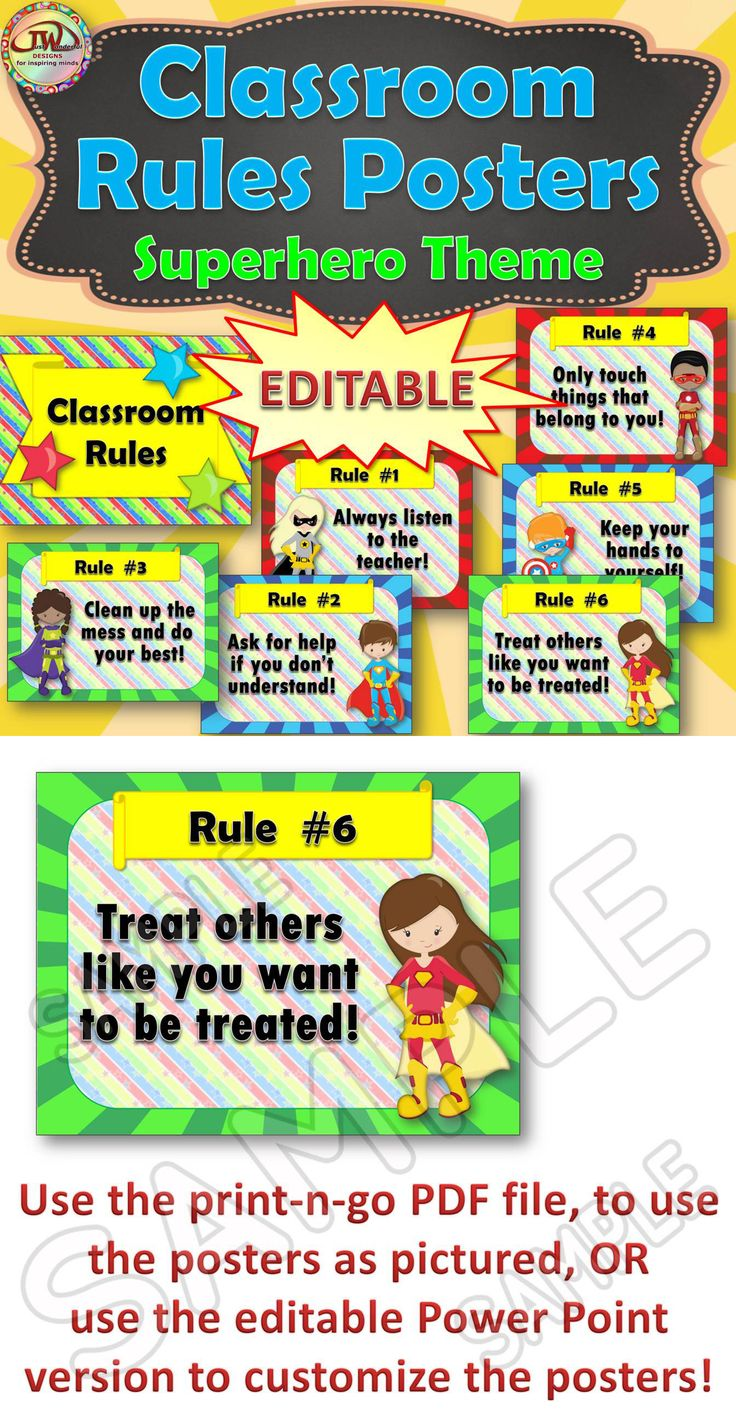 Superhero classroom rules posters. These are EDITABLE. There are six rules included in both print-and-go version and editable version. This set coordinates with the rest of my superhero classroom themed items. https://www.teacherspayteachers.com/Store/Jwdesigns/Category/-Superhero-Theme-250232/Order:Most-Recently-Posted?aref=tphohgfd Come check out my store for more classroom decor!