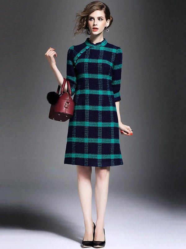 Wool Plaid Qipao / Cheongsam Dress with Long Sleeves for Winter