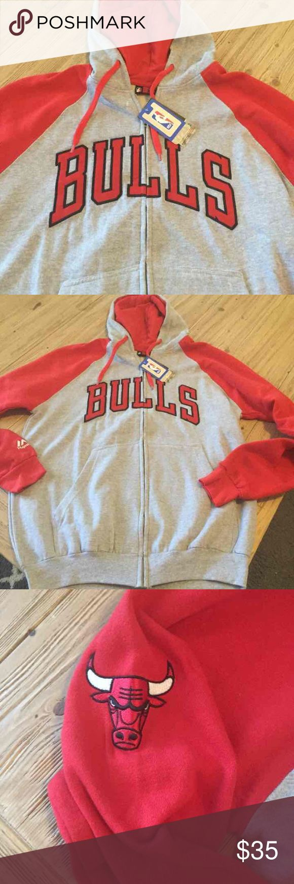 Mens LT Chicago Bulls zip up hoodie $55 Mens large tall Chicago Bulls hooded sweatshirt.  Retail $55 Shirts Sweatshirts & Hoodies
