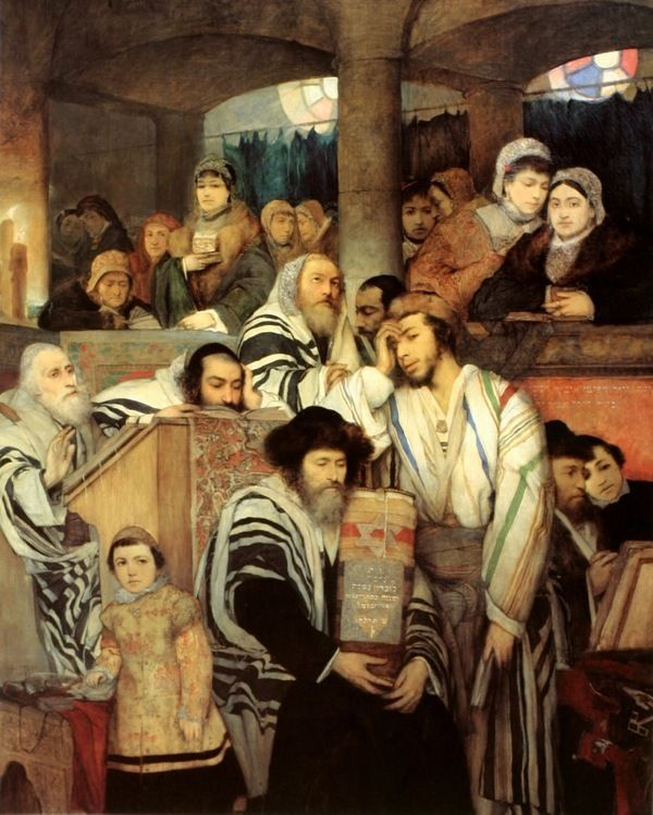 JEWS IN SYNAGOGUE TORAH ON YOM KIPPUR REAL CANVAS GICLEE 8X10 JEWISH ART PRINT #Realism