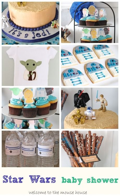 star wars baby shower theme r2d2 cookies jedi cake and cupcake