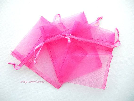 Organza Favor Bags 100 Hot Pink Organza Gift Bags with Satin Drawstrings,3x4 In Sheer Fabric Favor Bags Party Small Organza Favour Bags SALE