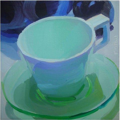 glass, cool, greens, blues, still life, fresh, contemporary, light:
