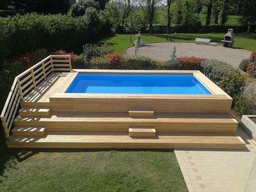 4482f5bb6845 Piscina fuori terra rivestita in larice Misure ingombro della piscina con  soppalco mt.