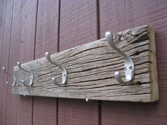 Old Barn Wood Home Decor | ... Barn Wood Coat Rack, With Four Double Hooks. Cabin Decor, Home Decor