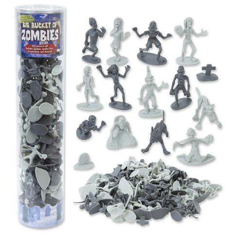 Amazon.com: Zombie Action Figures - Big Bucket of 100 Zombie - Includes Zombies, Zombie Pets, Gravestones, and Humans!: Toys & Games