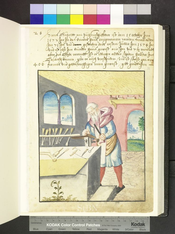 Carpenter and carpentry tools  Die Hausbücher der Nürnberger Zwölfbrüderstif…