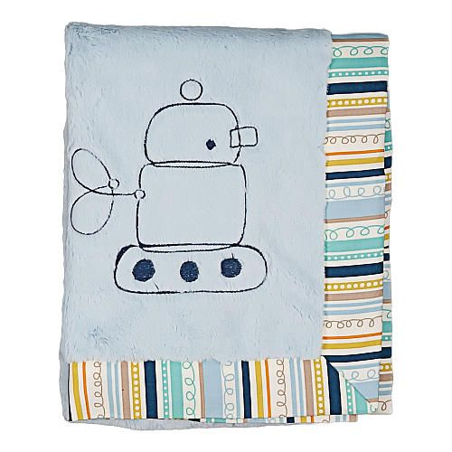 "Living Textiles Lolli Living Baby Bot Boa Blanket - Robot/ Galaxy Stripe - Living Textiles - Babies ""R"" Us"